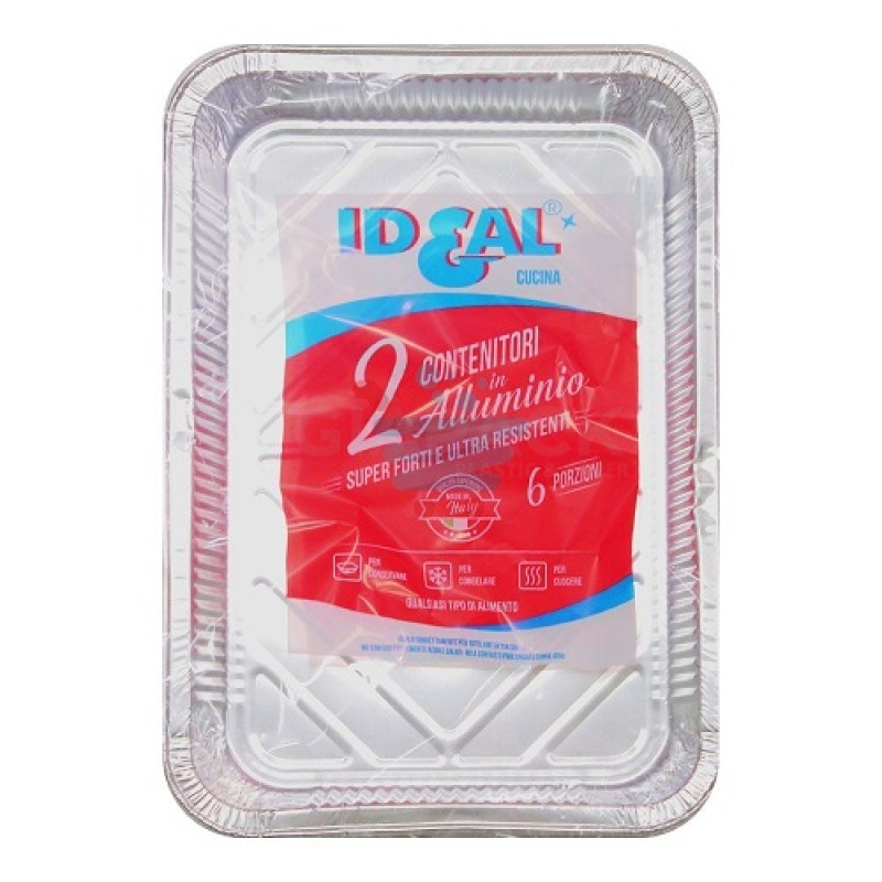 Ideal aluminum container 6 portion without lid 2 pcs