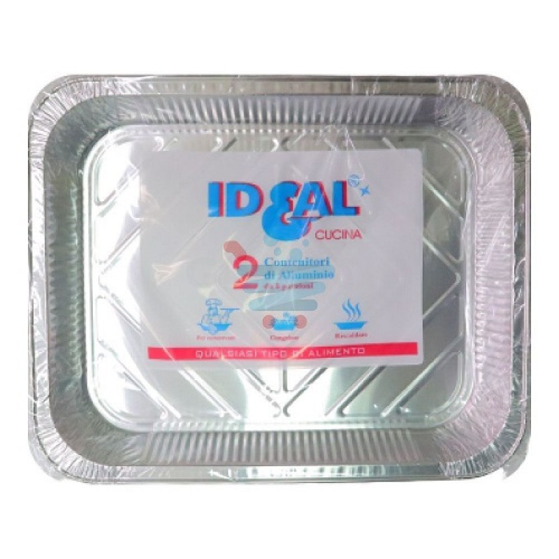 Ideal aluminum container 8 portion without lid 2 pcs