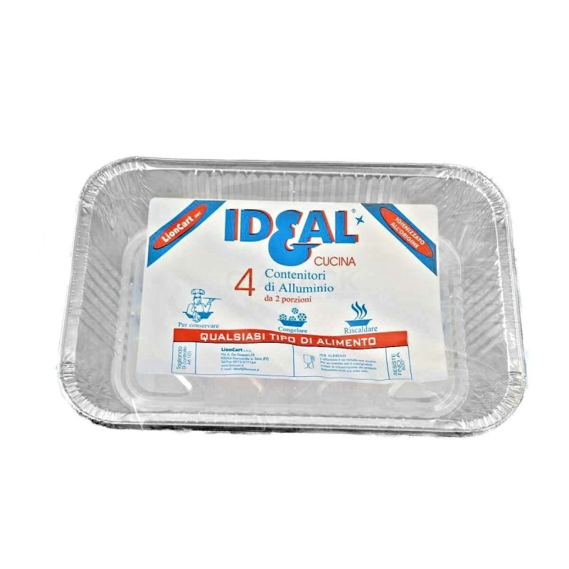 Ideal aluminum container 2 portion without lid 4 pcs