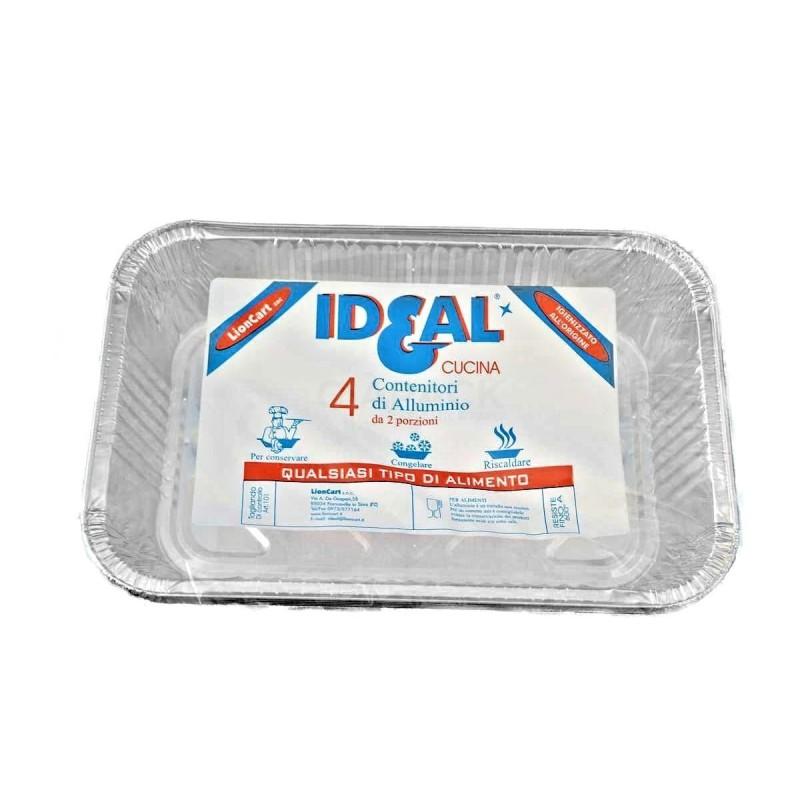 Contenitore alluminio Ideal 2 porzione senza coperchio 4 pz