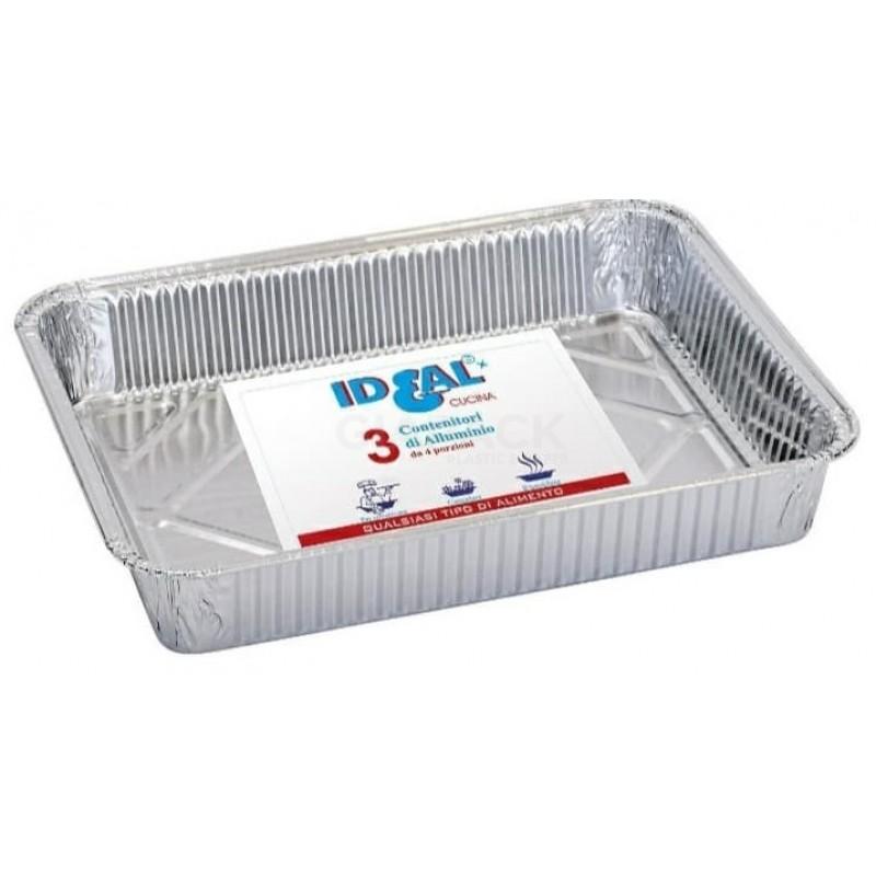 Contenitore alluminio Ideal 4 porzione senza coperchio 3 pz