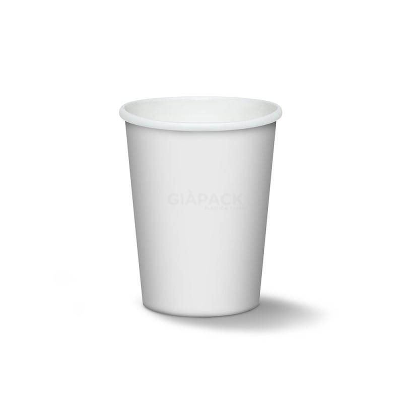 White biodegradable cardboard cups 180 ml cf 50 pcs