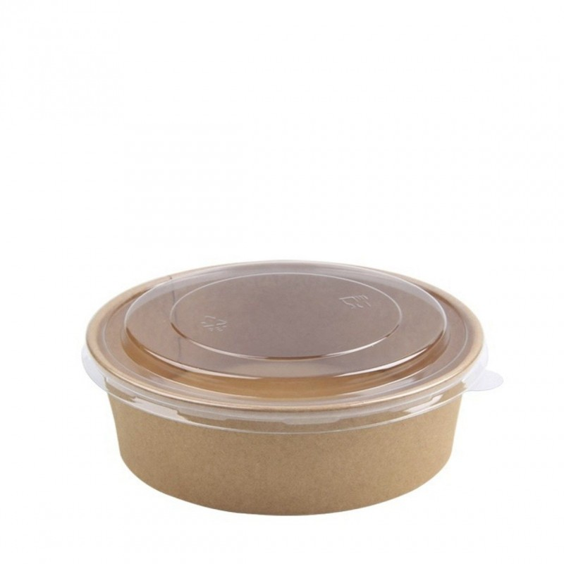Transparent PLA lid 18 Cm for cardboard salad bowl 1300 ml - 50 Pieces