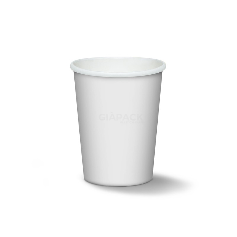 White biodegradable cardboard cups 210 ml cf 50 pcs