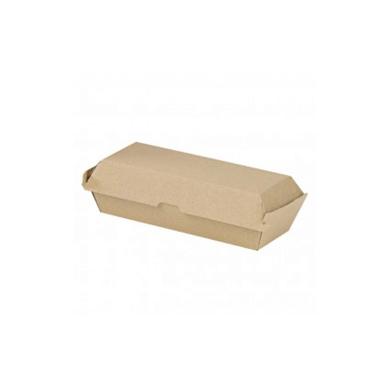 Kraft Corrugated Hot Dog Clamshell - L: 8.2in W: 2.95in H:2.75in