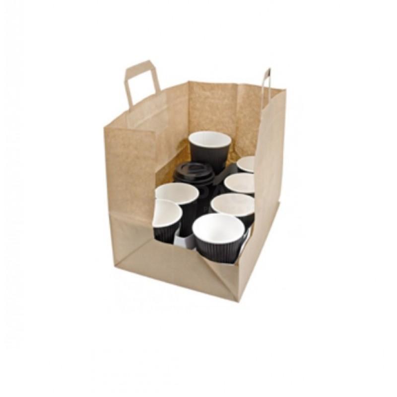 Busta take away formato 32+22 x25 colore Avana maniglia piatta